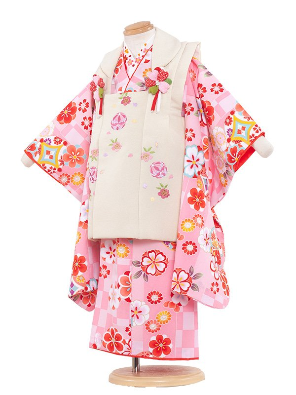 七五三(3女)3067 ピンク色/市松に華