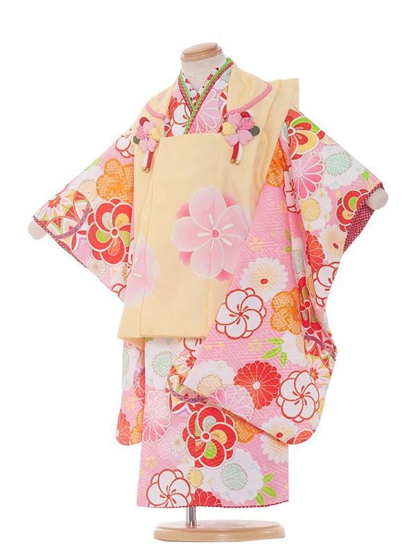 七五三(3女)3169 ピンク色×梅毬