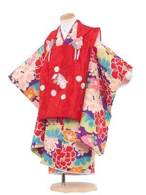 七五三レンタル(3歳女の子被布)3027 赤×紫大華