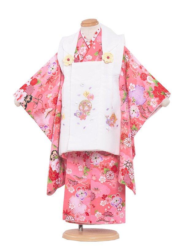 七五三(3女)3159 ピンク色×小花