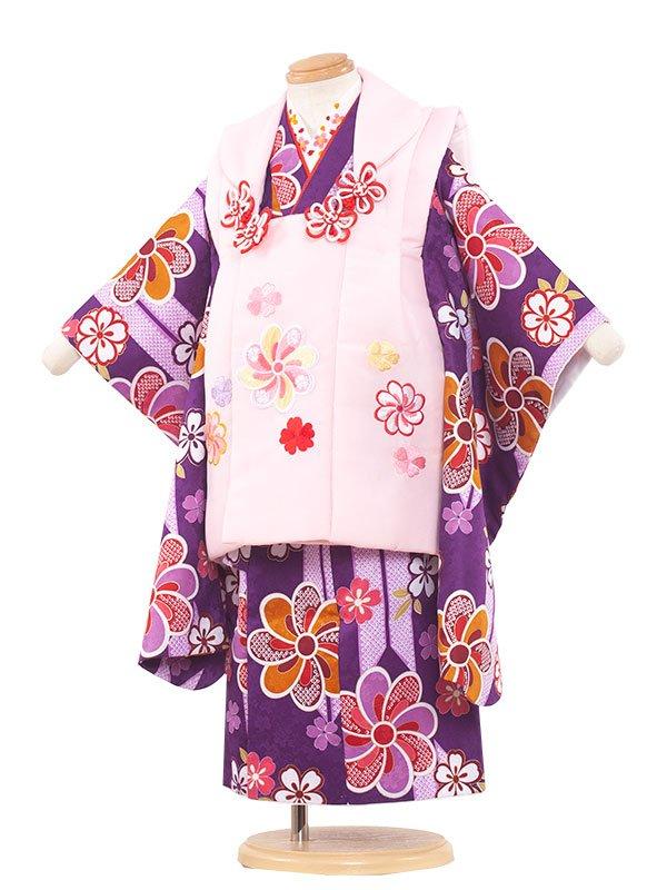 七五三(3女)3100 赤/紫華矢絣