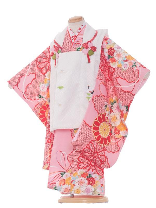 七五三(3女)3165 ピンク×古典花毬