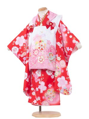 七五三レンタル(3歳女の子被布)3147 赤色×桜