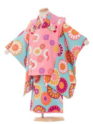 七五三レンタル(3歳女の子被布)3023 水色×ピンク/花わらべ