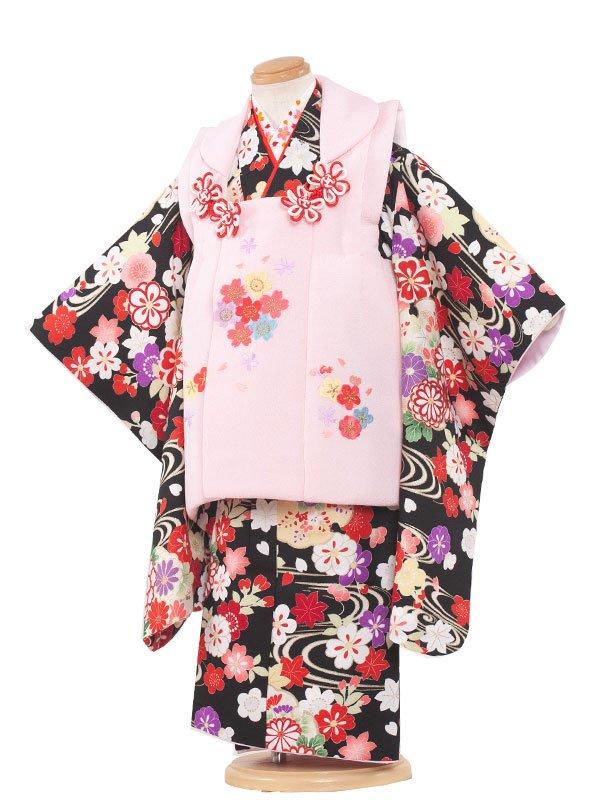 七五三(3女)3106 ピンク/黒古典小花