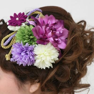 髪飾り367紫白緑組みひも