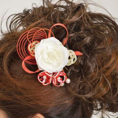 髪飾り074白バラ赤水引
