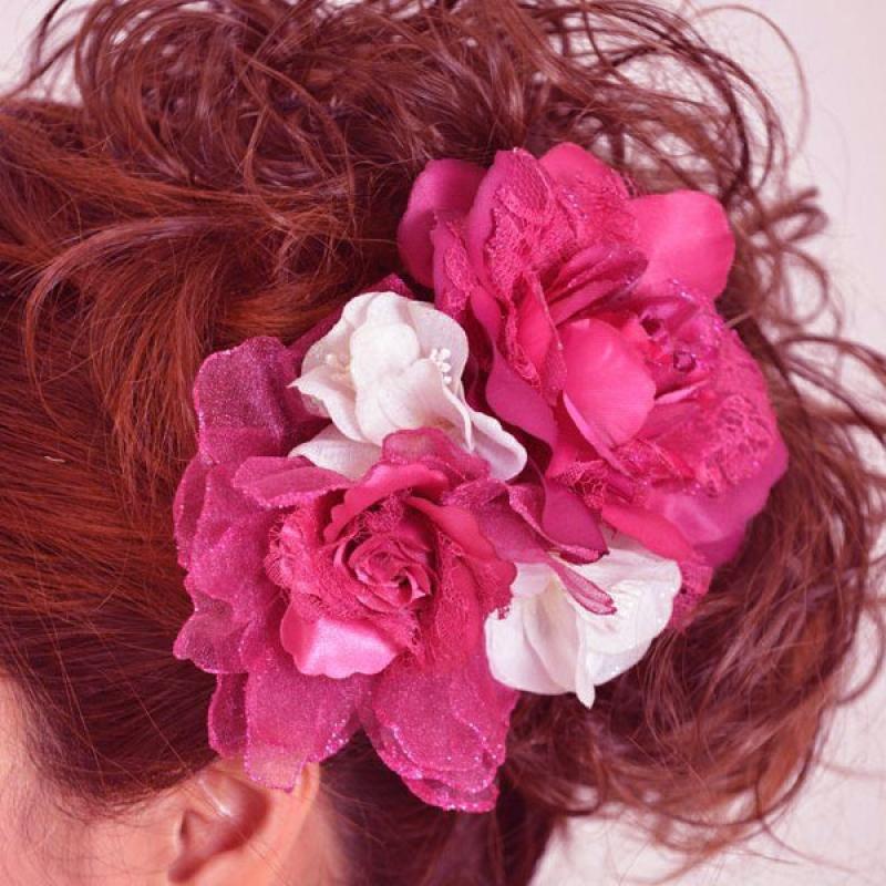 髪飾り091赤バラにりん