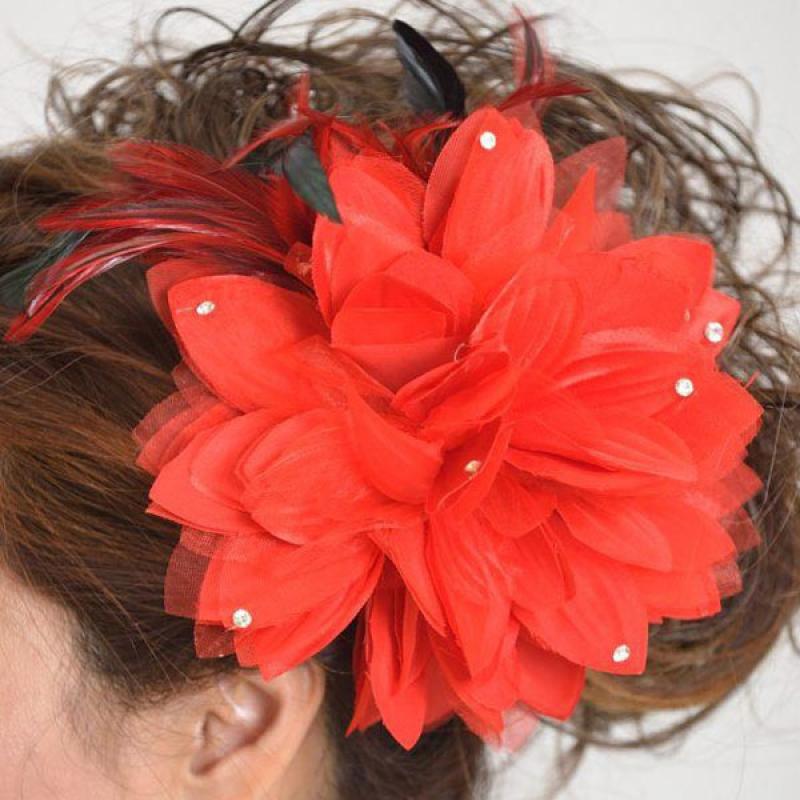 髪飾り100大輪赤ダリア