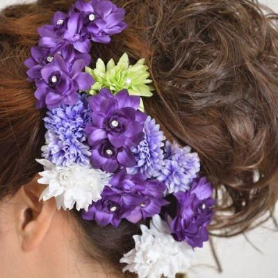 髪飾り126小花白紫