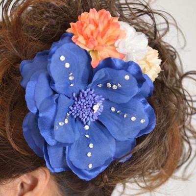 髪飾り137ブルー大輪