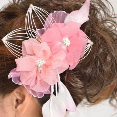 髪飾り128ピンク小花