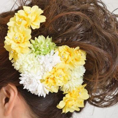 髪飾り125小花白黄色