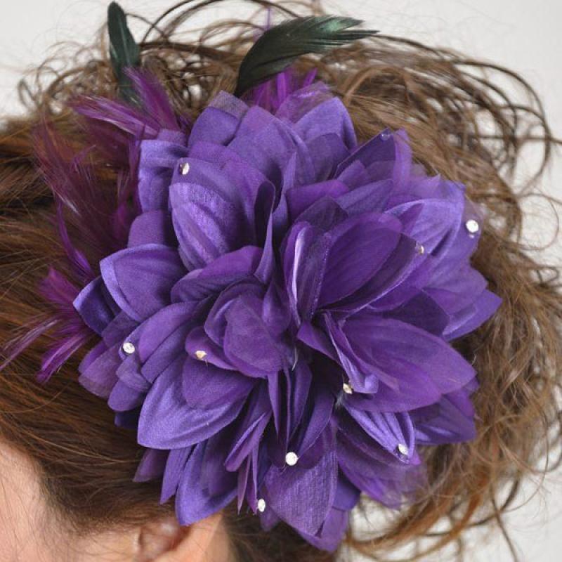 髪飾り101大輪紫ダリア