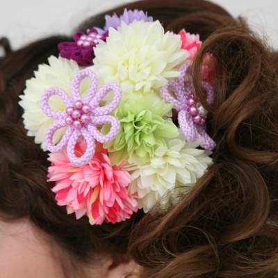 髪飾り318ピンク白緑小花