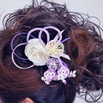 髪飾り072白バラ紫水引