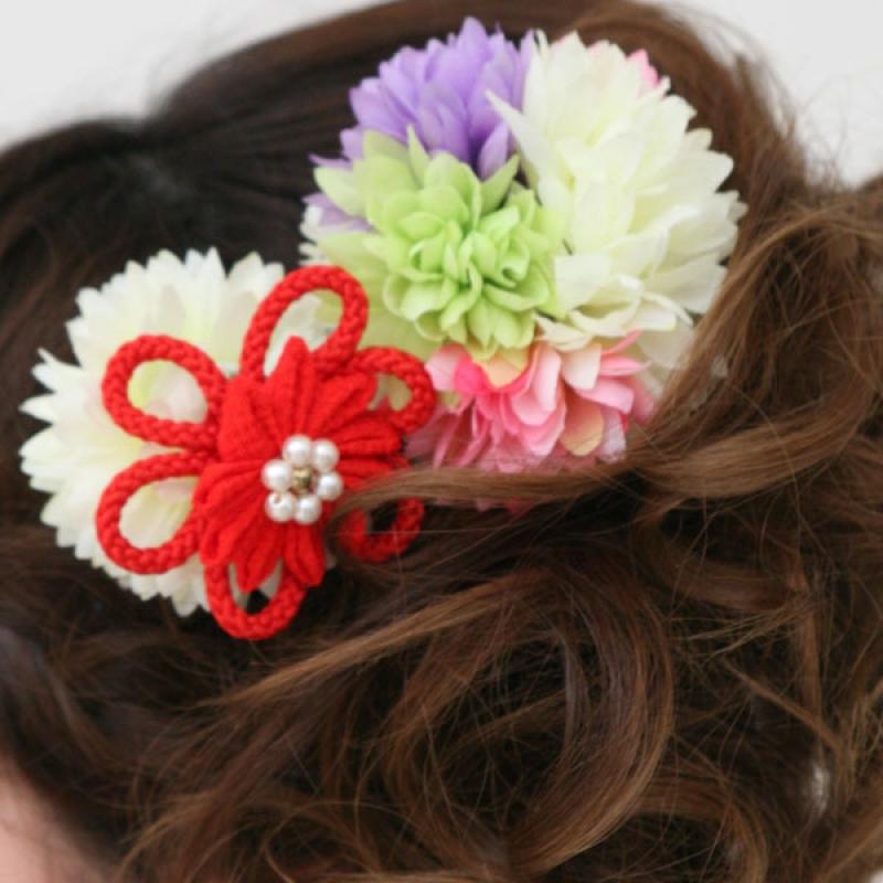髪飾り361花ボール赤かんざし付