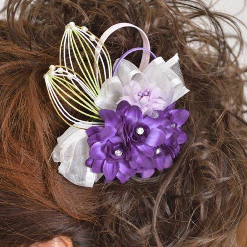 髪飾り093紫小花に水引