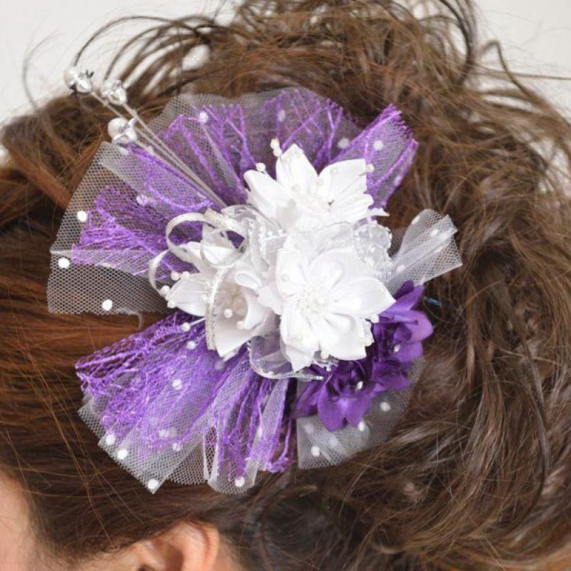 髪飾り130白小花に紫チュール