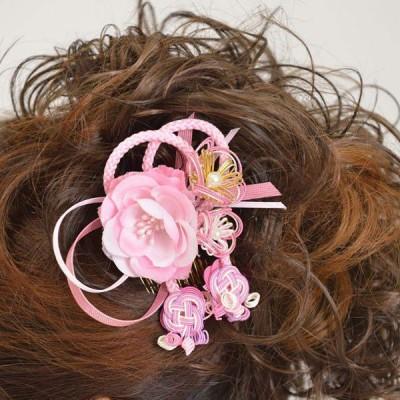 髪飾り073ピンクバラピンク水引