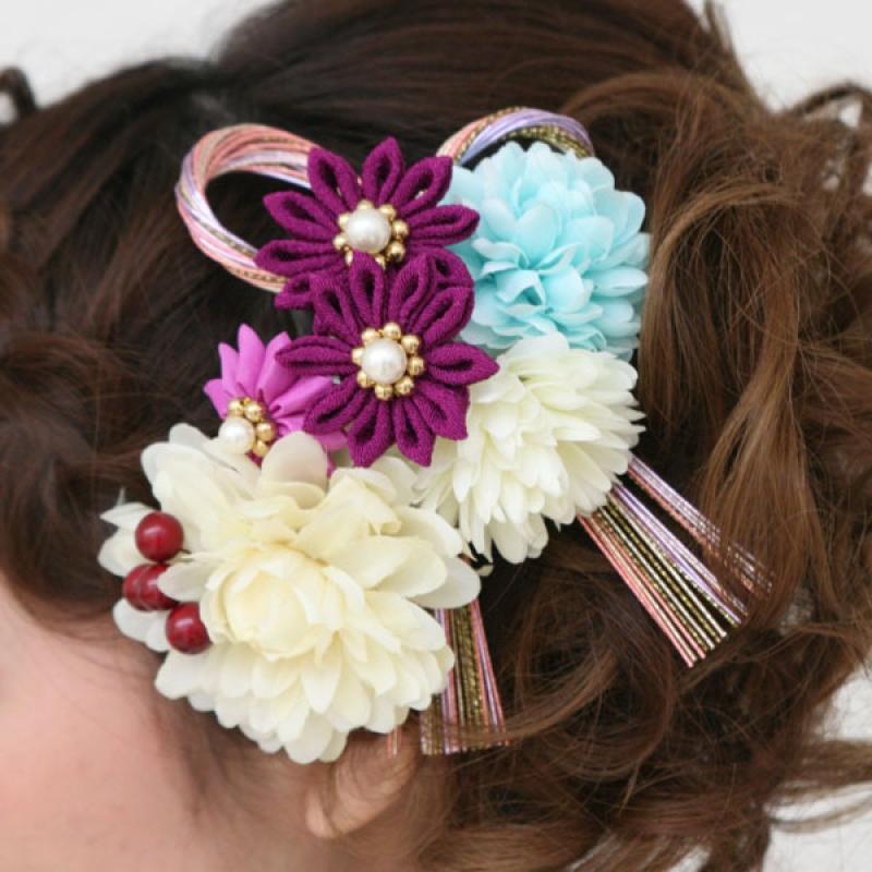髪飾り365白・ブルー・紫小花に水引