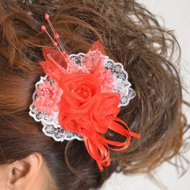 髪飾り129赤小花白レース