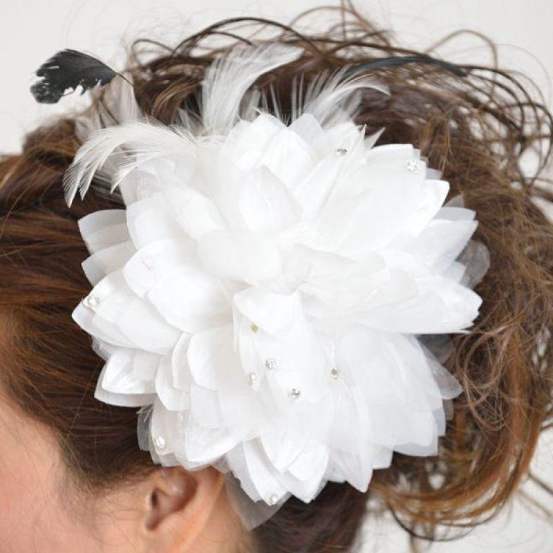 髪飾り102大輪白ダリア
