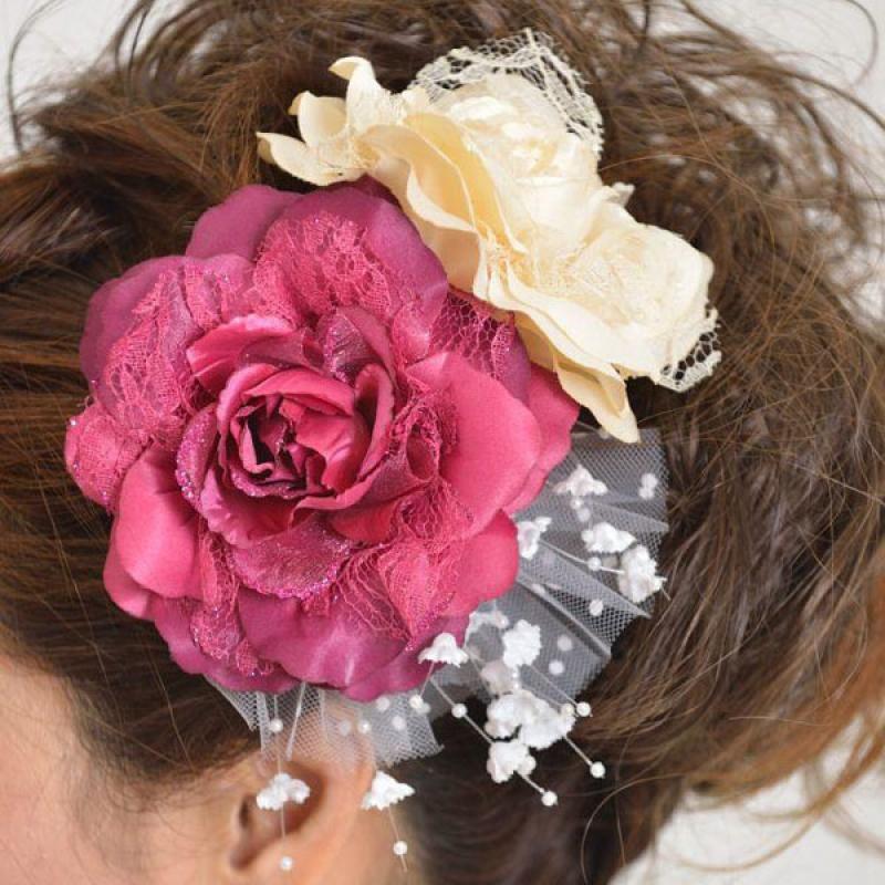髪飾り132赤バラと白バラ