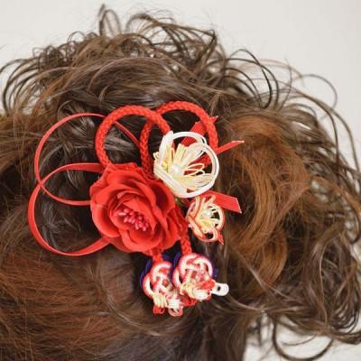 髪飾り071赤バラ紅白水引