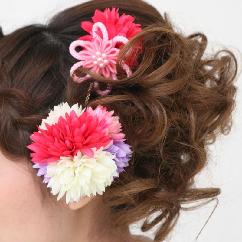 髪飾り362花ボールピンクかんざし