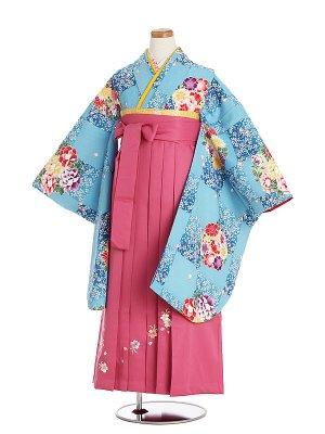 小学生卒業袴009M水色花雪輪/ピンク