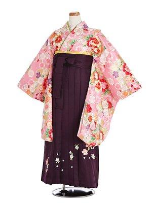 小学生卒業袴033Mピンク四季の花/紫