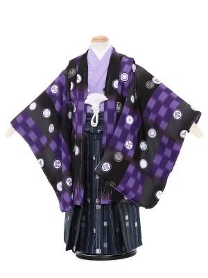 七五三レンタル(3歳男袴)5077 式部浪漫 黒 丸紋