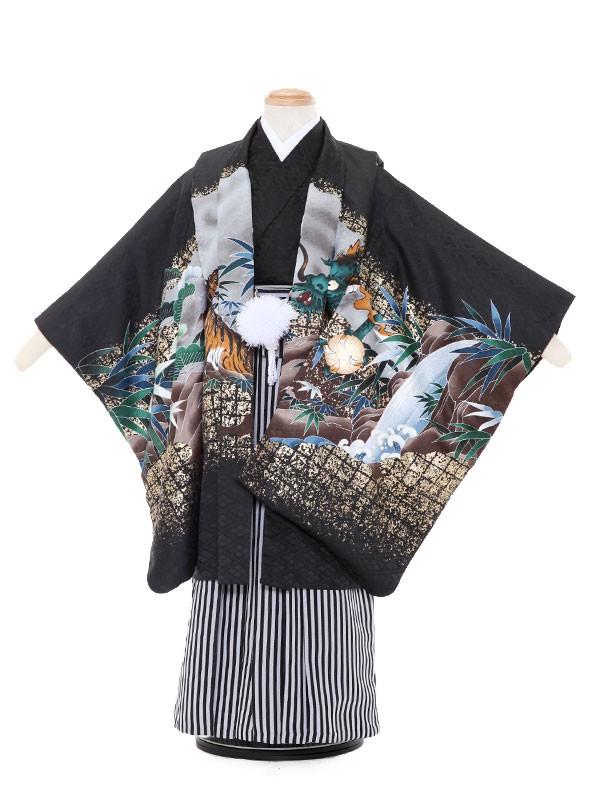 七五三レンタル(5歳男袴)5067 黒地 兜 巻物