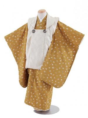 七五三レンタル(3歳男被布)5036 クリーム色×黄土色 猫 鴨