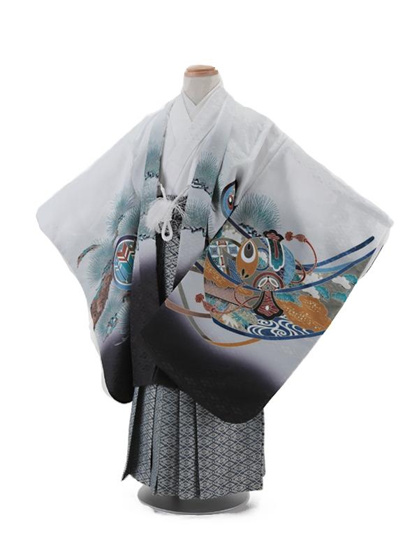 七五三レンタル(5歳男袴)5001 白地 兜に軍配