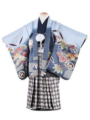 七五三レンタル(3歳男袴)5023 薄水色地 鷹に巻物