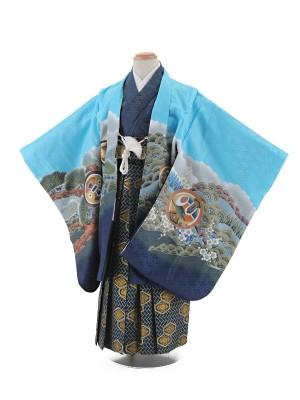 七五三レンタル(5歳男袴)5004 水色 鷹に富士