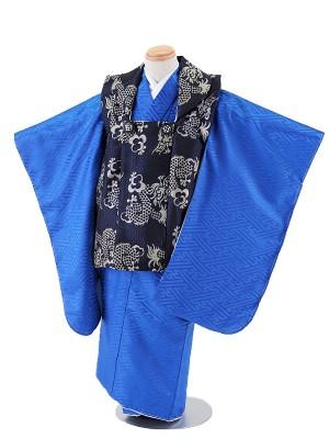 七五三レンタル(3歳男被布)5043 紺地×青 紗綾形