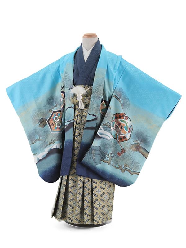七五三レンタル(5歳男袴)5006 水色 鷹に鏡