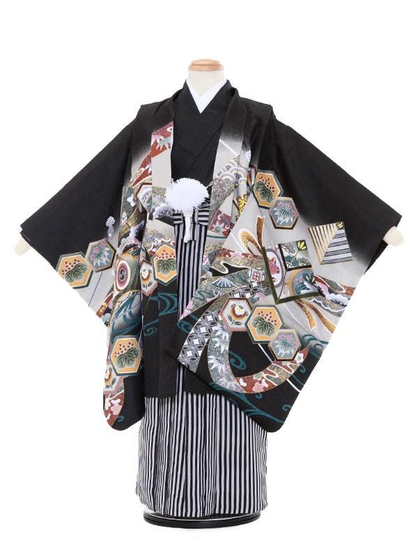七五三レンタル(5歳男袴)5068 黒地 兜 巻物