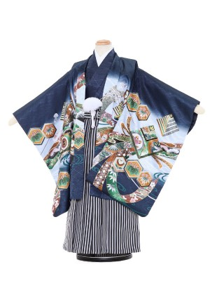 七五三レンタル(5歳男袴)5056 紺地 兜と打出の小槌