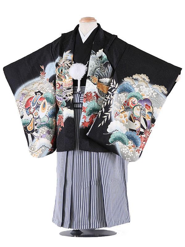 七五三レンタル(3歳男袴)5016 黒地 兜と松