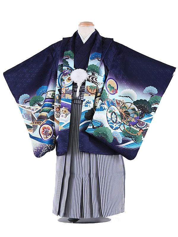 七五三レンタル(3歳男袴)5019 青紫 兜に打ち出の小槌