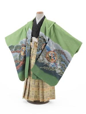 七五三レンタル(5歳男袴)5003 緑地 鷹に富士