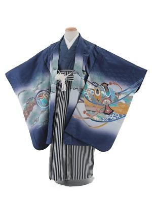 七五三レンタル(5歳男袴)5010 紺地 兜に軍配