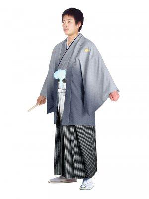 E-SV11-5-1 5号グレー紋付白/銀縞袴