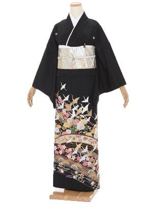 黒留袖 昇り鶴 H004