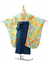 ジュニア着物(女の子袴)7107SEIKO水色ストライプバ