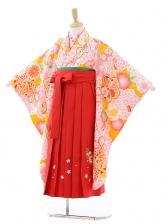 女児袴(7女)7271ピンク大花にまり×赤袴